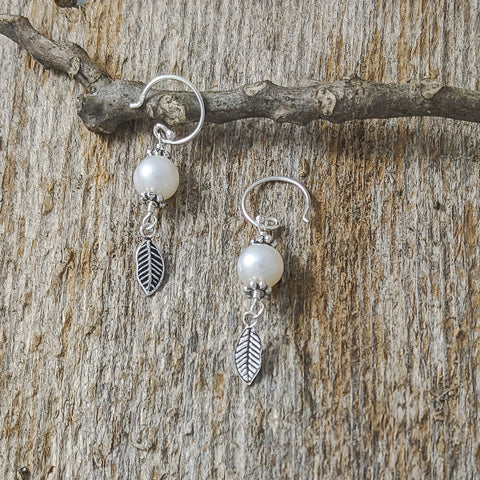 Cultured Pearl with Small feather Earrings, Sterling Silver