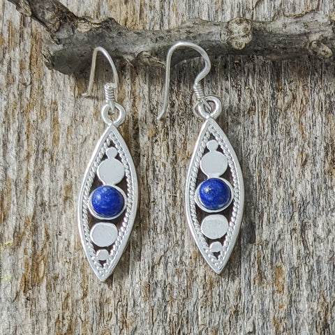 Pointy Circle Drop Earrings with Lapis Lazouli, Sterling Silver