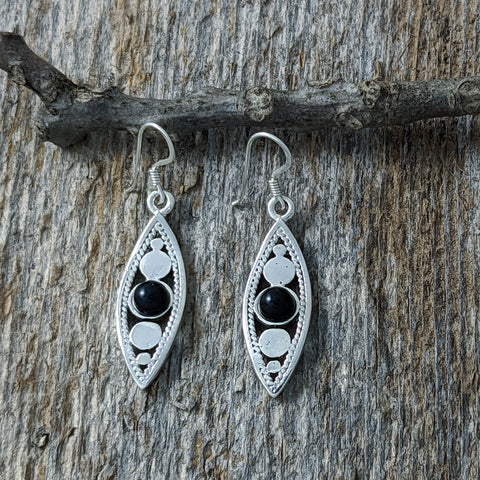 Pointy Circle Drop Earrings with Black Onyx, Sterling Silver