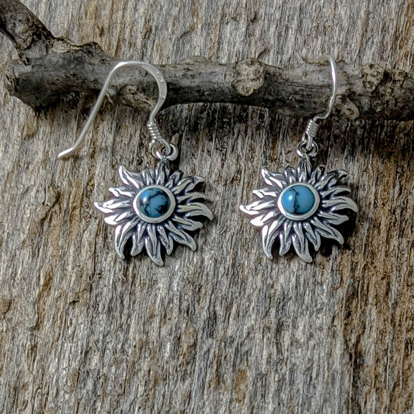 Sunflower with Turquoise Earrings, Sterling Silver