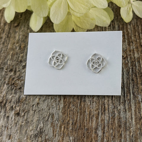 Geometric Flower Stud Earrings, Sterling Silver