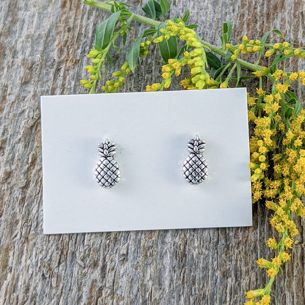 Pineapple Stud Earrings, Sterling Silver