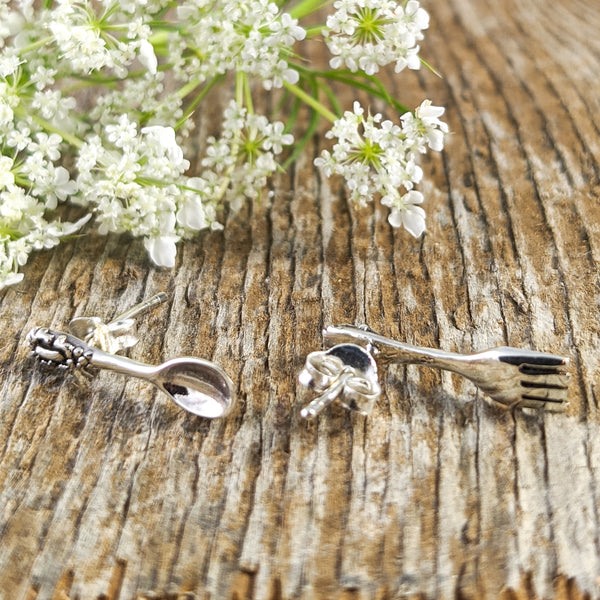 Fork & Spoon Stud Earrings, Sterling Silver