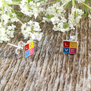 Colorful LOVE Stud Earrings, Sterling Silver