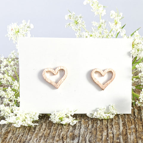 Brushed Heart Stud Earrings, Rose Gold plated Sterling Silver