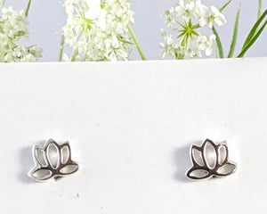 Teeny Tiny Lotus Flower Stud Earrings, Sterling Silver