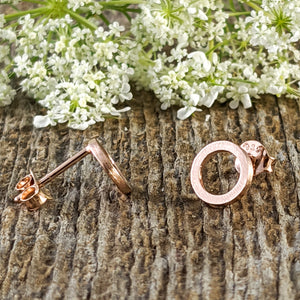 Open Disc Stud Earrings, Rose Gold plated Sterling Silver