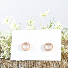 Load image into Gallery viewer, Open Disc Stud Earrings, Rose Gold plated Sterling Silver