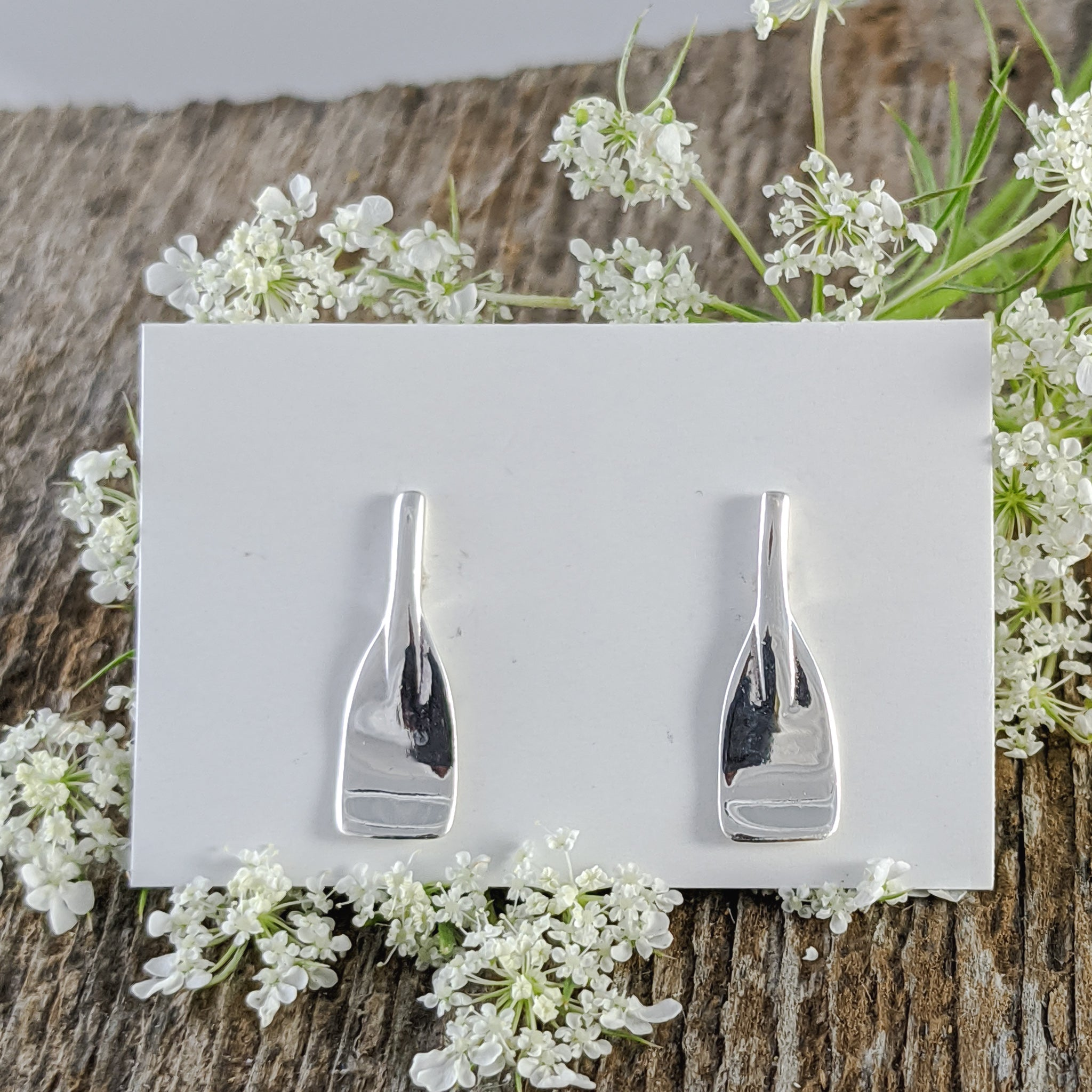 Paddle Stud Earrings, Sterling Silver