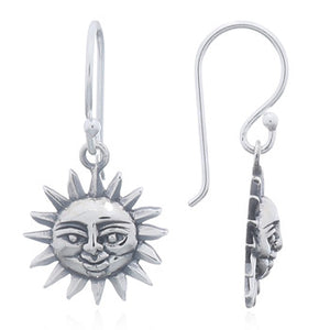 Smiling Sun Earrings, Sterling Silver