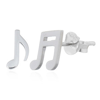 Musical Notes Stud Earrings, Sterling Silver