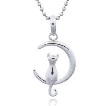 Cat in the Moon Pendant, Sterling Silver