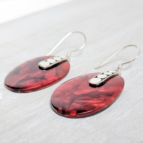 Abalone (Mother of Pearl) Accented with Red Resin Earrings, Sterling Silver