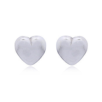 Little Chubby Heart Stud Earrings, Sterling Silver