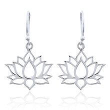Load image into Gallery viewer, Lotus Flower Earrings, Sterling Silver