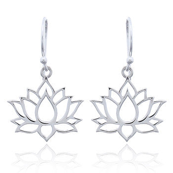 Lotus Flower Earrings, Sterling Silver
