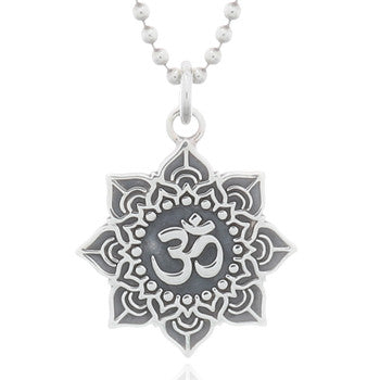 Lotus Om Pendant Small, Sterling Silver