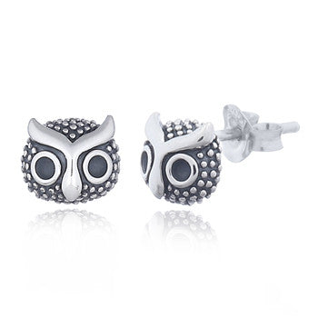 Owl Face Stud Earrings, Sterling Silver