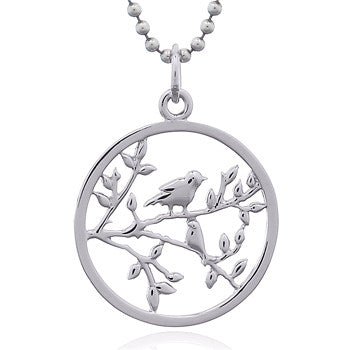 Two Birds in a Tree Pendant, Sterling Silver