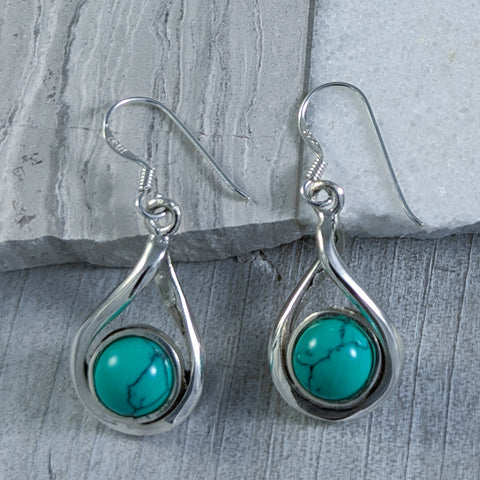 Turquoise Twist Earrings, Sterling Silver