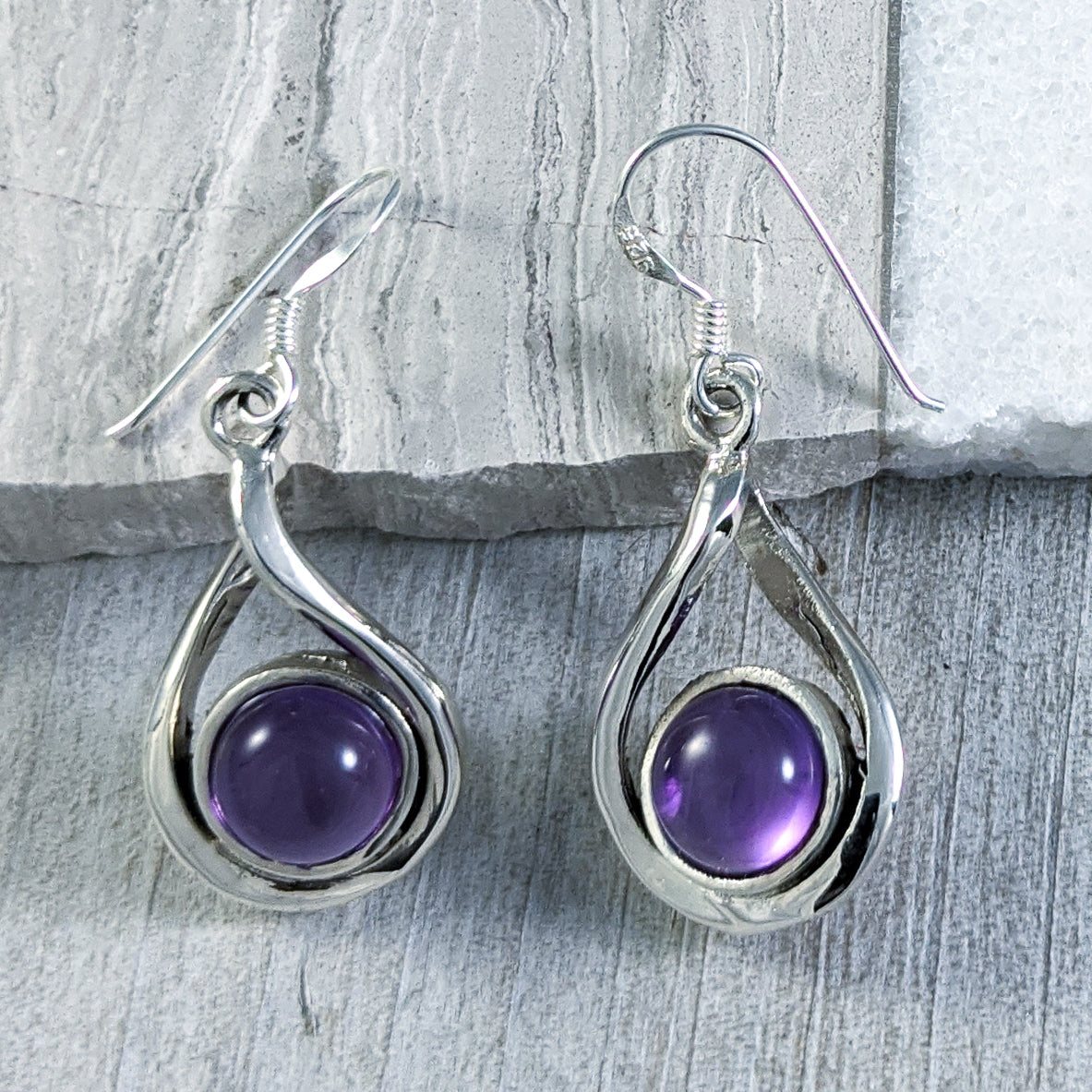 Amethyst Twist Earrings, Sterling Silver