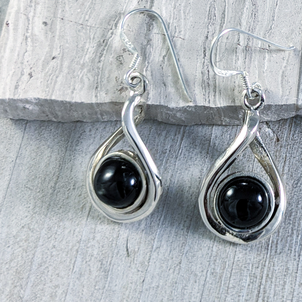 Black Onyx Twist Earrings, Sterling Silver