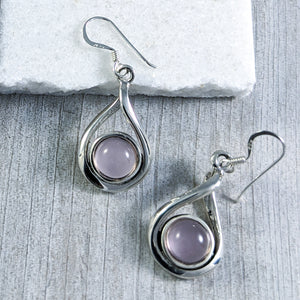 Rose Quartz Twist Earrings, Sterling Silver