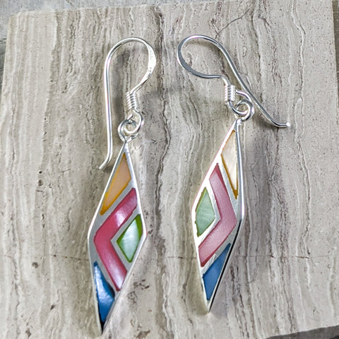 Multi-Color Seashell Earrings, Sterling Silver