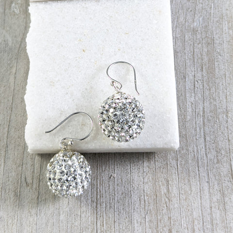 Large Disco Ball Earrings, Sterling Silver