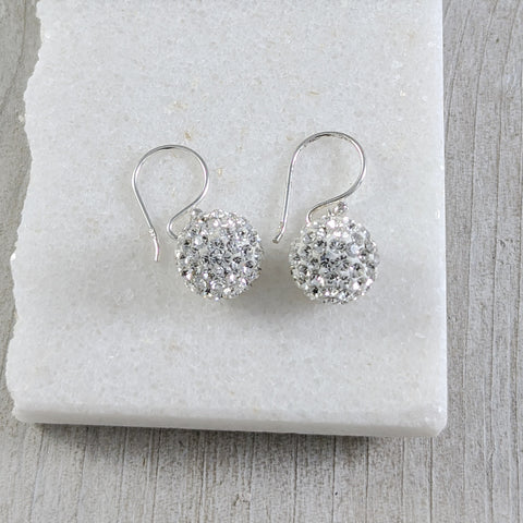 Small Disco Ball Earrings, Sterling Silver