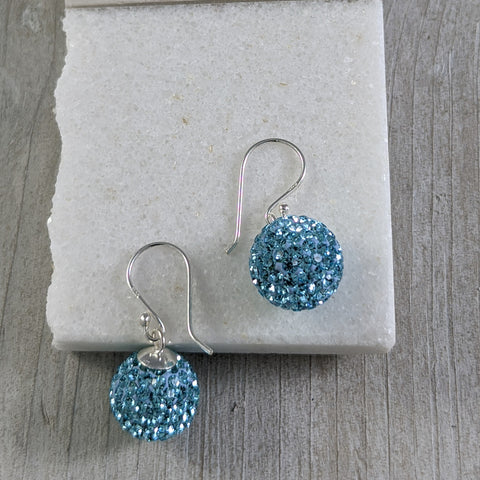 Medium Disco Ball Earrings in Blue, Sterling Silver