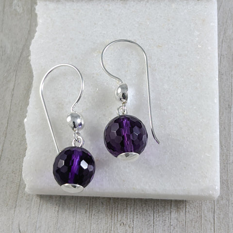 Purple Quartz Drop Earrings, Sterling Silver