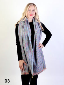 Melody Stripy Winter Scarf : Light Blue