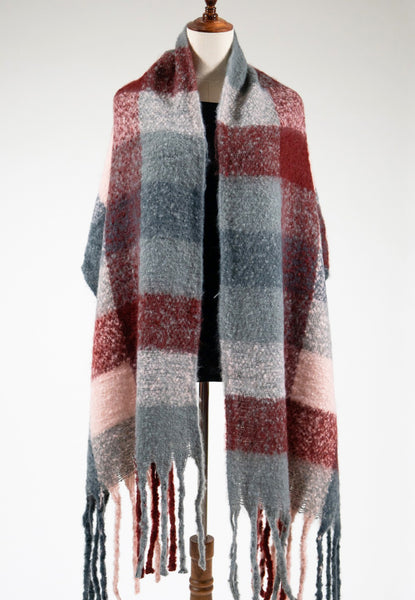 Lora Winter Scarf : Pink/Grey