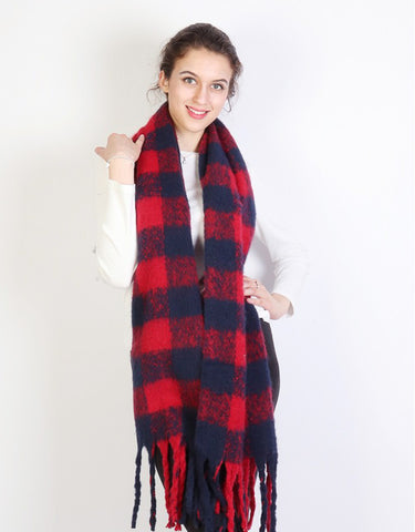 Kiara Winter Scarf : Red/Navy