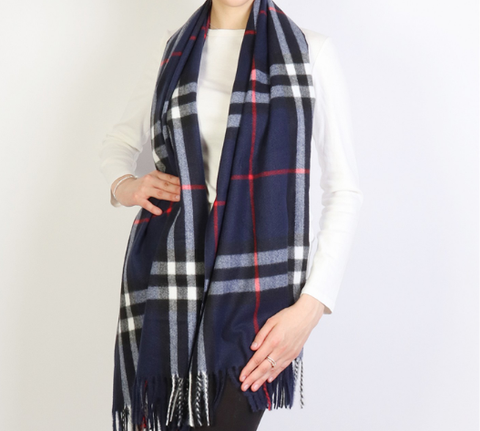 Ella Scarf : Navy Plaid