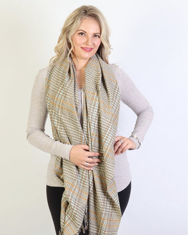 Sophia Plaid Winter Scarf : Mustard