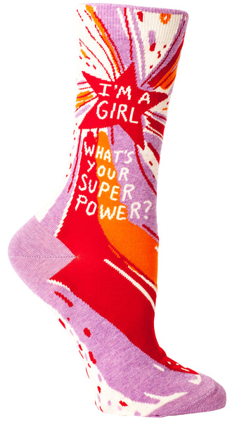 Women's Socks : I'm a Girl Super Power