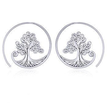 Tree of Life Loop Earrings, Sterling Silver