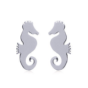 Shiny Seahorse Stud Earrings, Sterling Silver