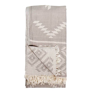 Turkish Towel : Geometric Pebble Grey