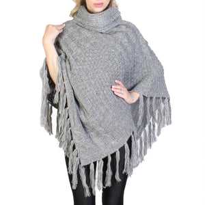 Cora Knit Poncho : Grey