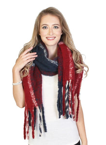 Emma Winter Scarf : Red/Navy
