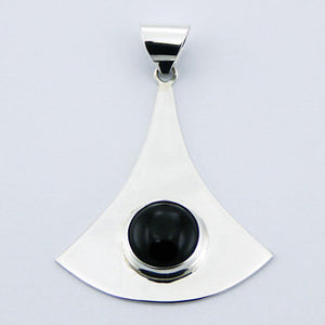 Fan Shaped Pendant with Black Onyx , Sterling Silver