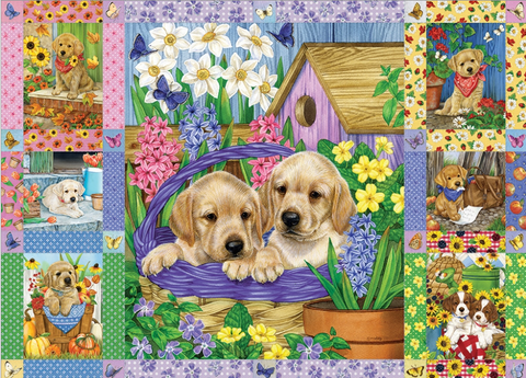 Jigsaw Puzzle : Puppies and Posies Quilt