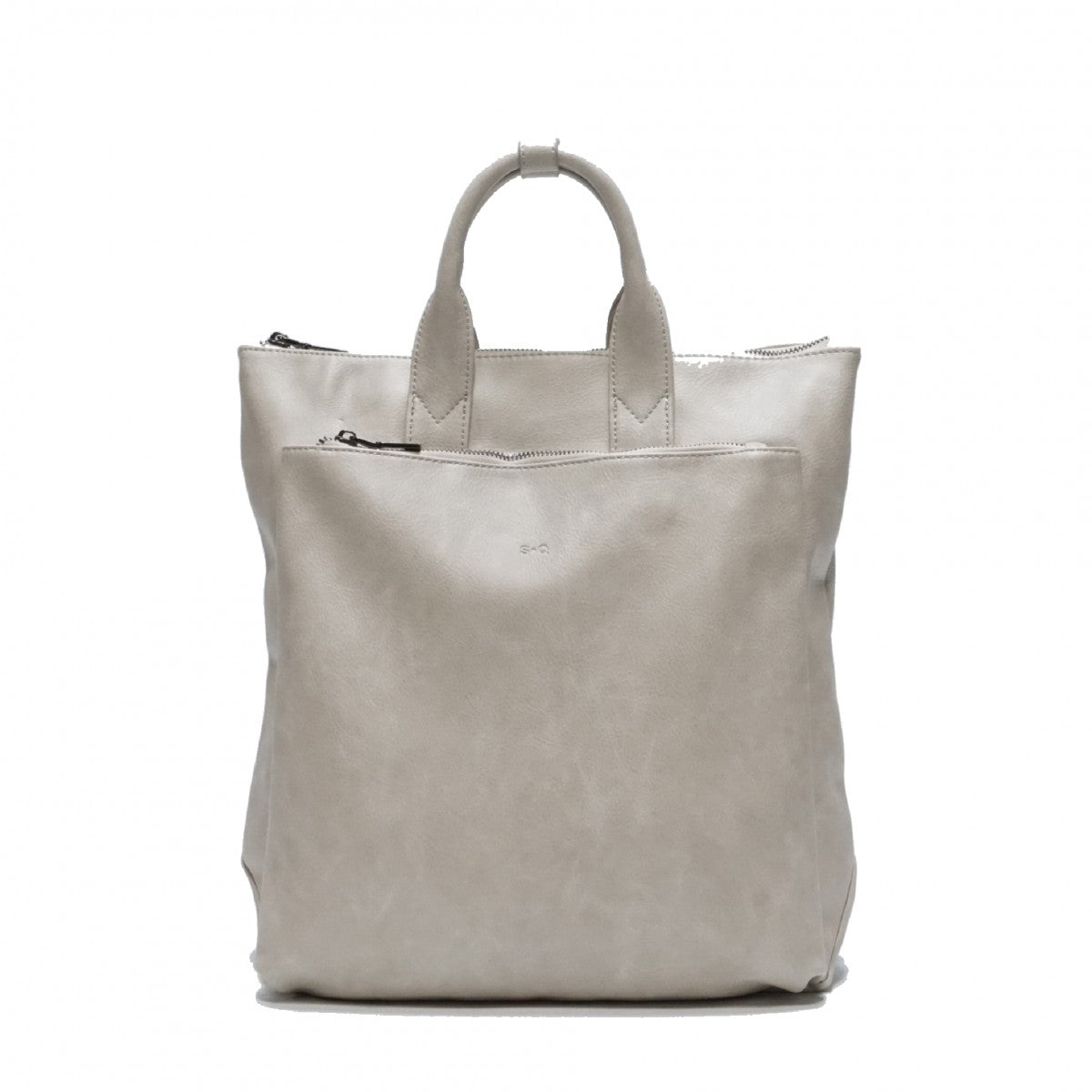 Elena Backpack: Grey. Vegan Leather.