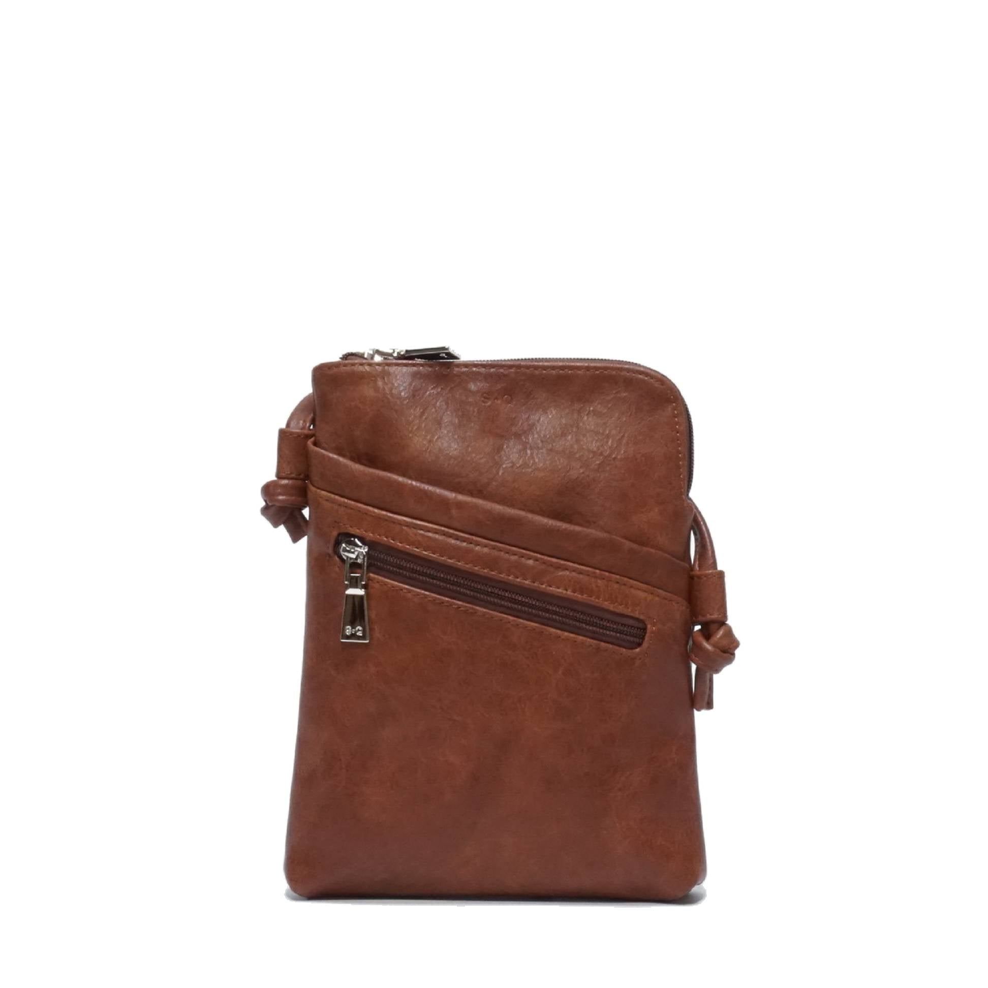 Hannah Crossbody Purse : Camel. Vegan Leather