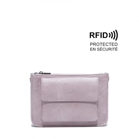 Betsy Crossbody Purse : Lilac. Vegan Leather.