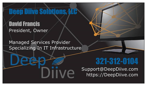 "Deep Diive Biz card ""IT Support Melbourne FL"""