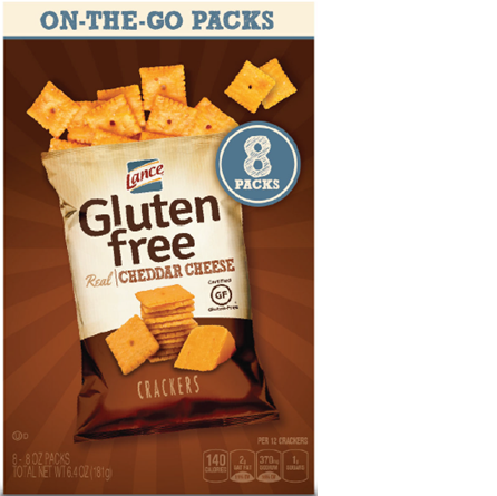 Lance Gluten Free Cheddar Cheese Crackers - On the go packs